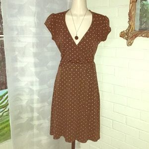Rhapsody vintage retro 1930s Pull over brown dress